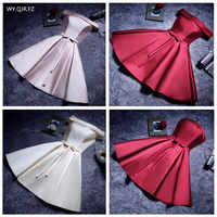 YLL034#Boat Neck Lace up Twill Satin Cloth pink red Bridesmaid Dresses Short Bride Wedding Party Toast Dress Gown Prom Wholesale