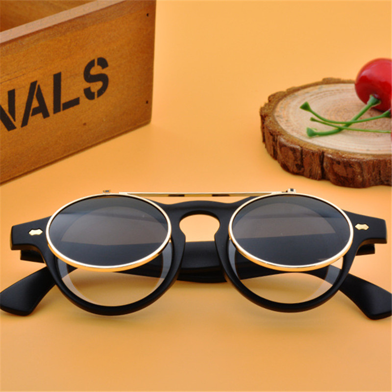 ASUOP 2019 nieuwe mode steampunk blind heren zonnebril dubbele lens ronde dames zonnebril UV400 klassieke retro merk bril