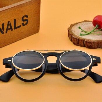 цена на ASUOP new fashion steampunk blind men's sunglasses double lens round ladies sunglasses UV400 classic retro brand glasses