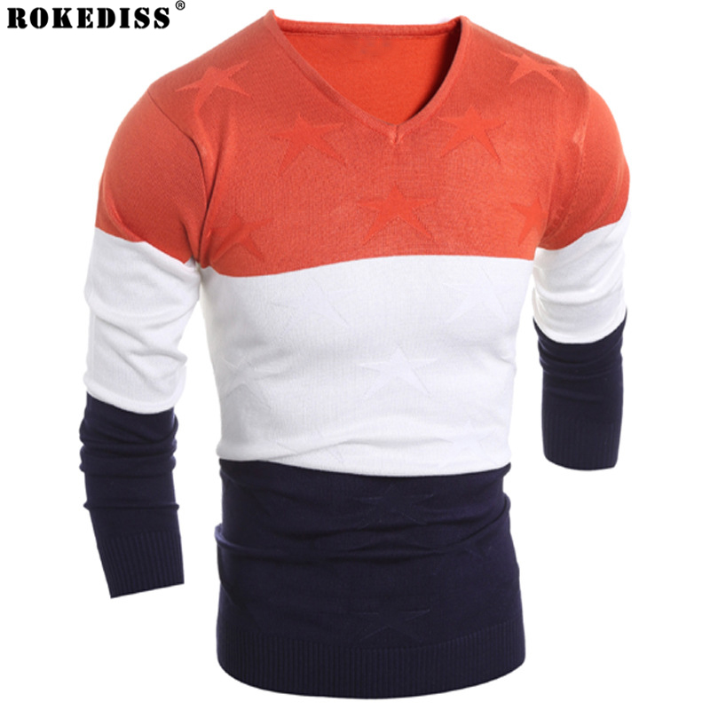 2017 Hot Sale Mens Fashion Sweaters Casual Streetwear O-neck Pullover for Men Fight color Leisure Leisure Sweater Z207 ...
