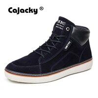 Cajacky الشتاء الدافئة عارضة أحذية الرجال عالية أعلى zapatos هومبر suede الشقق بأربطة زرقاء كبيرة الحجم 45 46 الذكور الرجال الخريف الأحذية