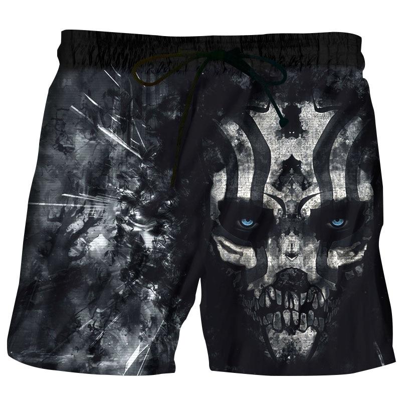 Hipster Anime Black Horror Skull 3D Print Beach   Shorts   Men   Board     Shorts   2018 Summer Swimshorts Boys Casual Pants stroj kapielowy