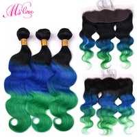 Ms Love Pre Colored T1B Blue Green Body Wave Human Hair Bundles With Frontal Closure Remy Brazilian Hair Weaving Baby Hair 13*4