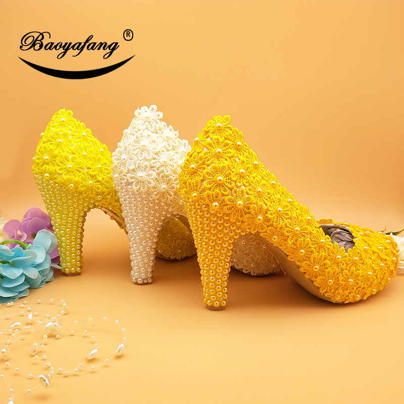 BaoYaFang New Arrival Ivory Flower Sweet Wedding shoes Yellow/Golden Lace shoes Woman 10cm heels shoes female party dress shoe-in Women's Pumps from Shoes    1