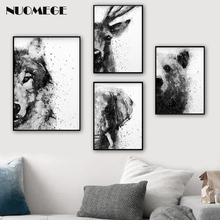 Black and White Watercolor Canvas Art Painting Animal Poster Prints Woodland Nursery Baby Decor Modern Wall Picture