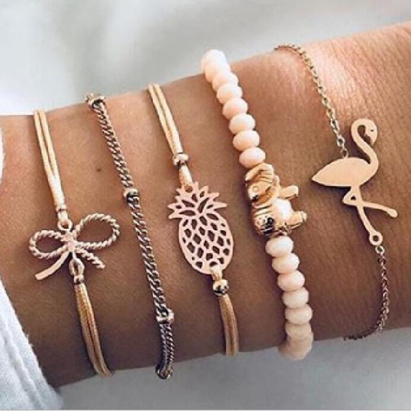 DIEZI Drop Shipping Bohemia Flamingo pineapple Bowknot Bracelets Bangles For Women Bracelets Sets Jewelry New Vintage