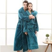 ffc25168ff046 Femmes hiver peignoir Long tricoté flanelle corail polaire Robe de bain chaud  chemise de nuit mariée
