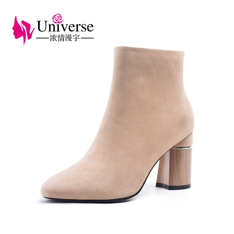 Universe Kid Suede Ankle Boots Plush Warm Zipper Autumn Winter Round Toe Super High Heels Ladies Winter Boots Women Shoes H195Universe Kid Suede Ankle Boots Plush Warm Zipper Autumn Winter Round Toe Super High Heels Ladies Winter Boots Women Shoes H195