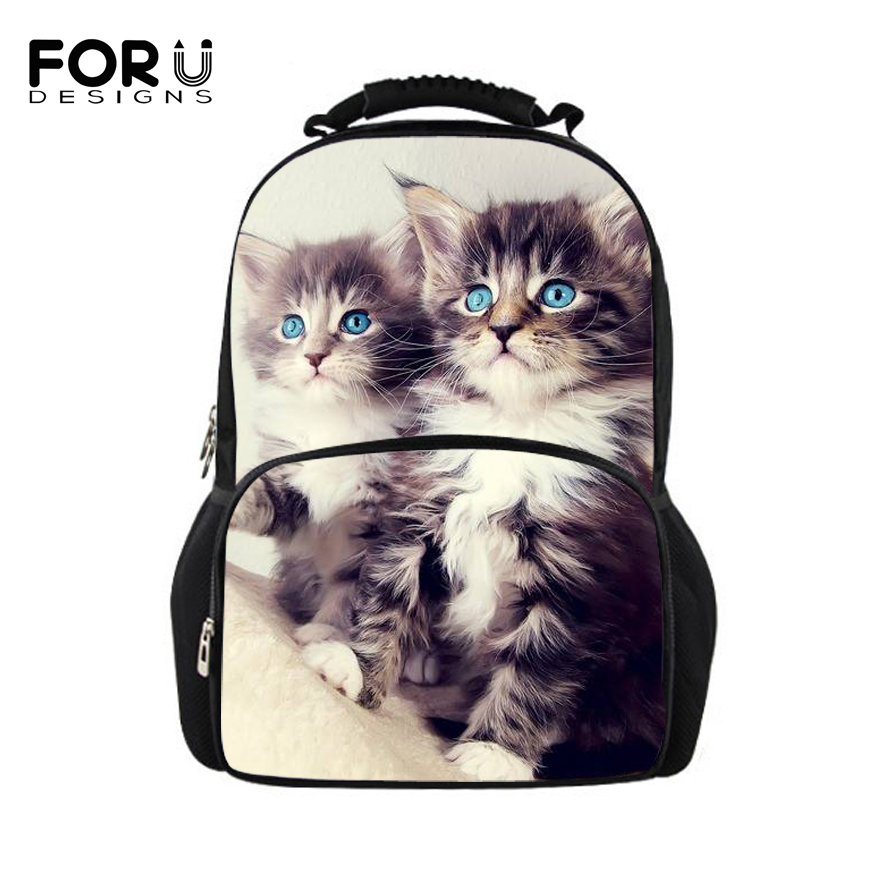 цена FORUDESIGNS Cute Cat Backpack Women Backpacks For Teenage Girls School Bag Casual Black Printing Rucksack Mochilas Back Pack Bag