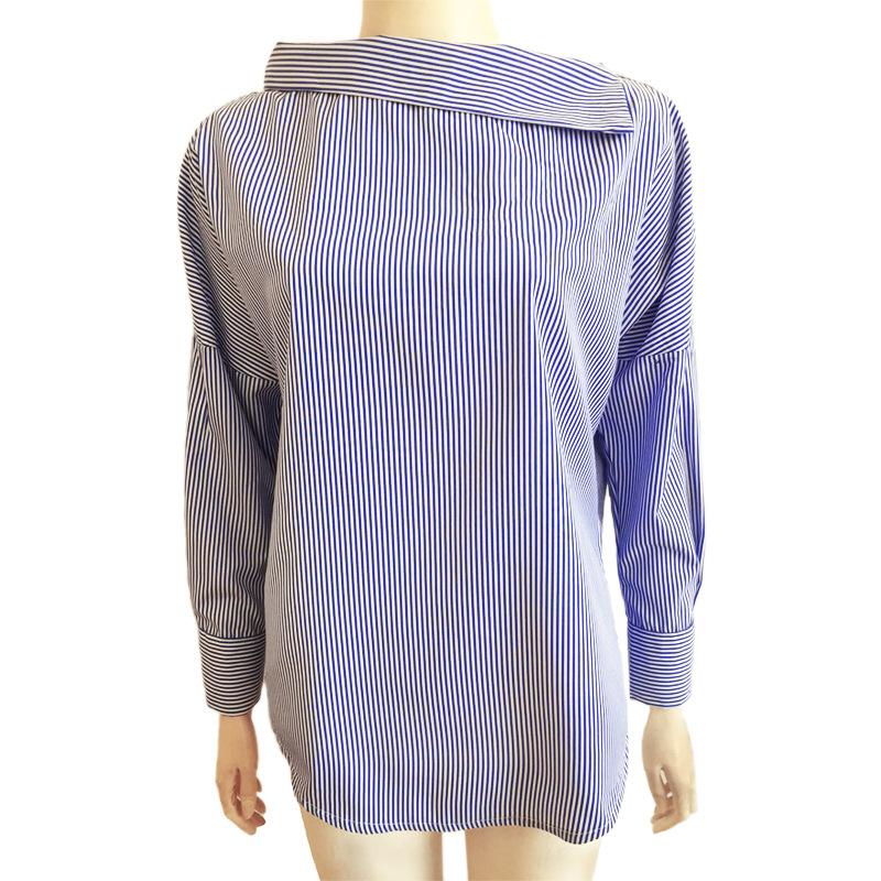 Spring Summer Women Striped Shirt Sexy Oblique Collar Blouse Loose Long sleeved Female Shirts Slash Neck Blouses New Cotton Tops in Blouses amp Shirts from Women 39 s Clothing