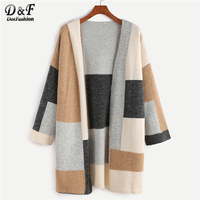Dotfashion Color Block Drop Shoulder Open Front Sweater Coat Women Multicolor Autumn Casual Shawl Collar Long Sleeve Outerwear