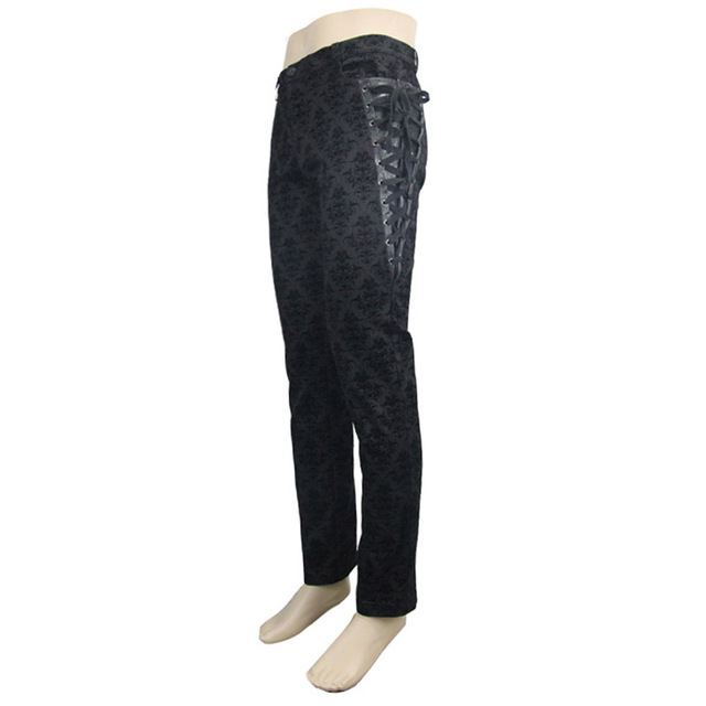 Gothic Punk Victorian Mens Pants Black Steampunk Fitness Casual Male Trousers Slimming Fitted Feet Pants Large Sizes S-XXXL 8