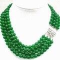 Moda diy bonitas 4 linhas natural 8mm verde jade rodada beads colar para mulheres semi-jóias de pedras preciosas 17-20 polegada MY5177
