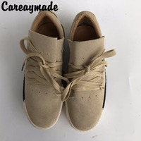 Careaymade 2017 Spring Sweethearts Style Scrub Casual Flat Platform Shoes Genuine Leather Tie Fltas Shoes 2