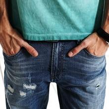 Fashion Hole Jeans Men Long Trousers skinny ripped Denim Pants