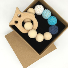 Crochet Bead Teething Ring Set Untreated Maple Teether with Organic Wood Toy Wood Owl Bracelet Baby