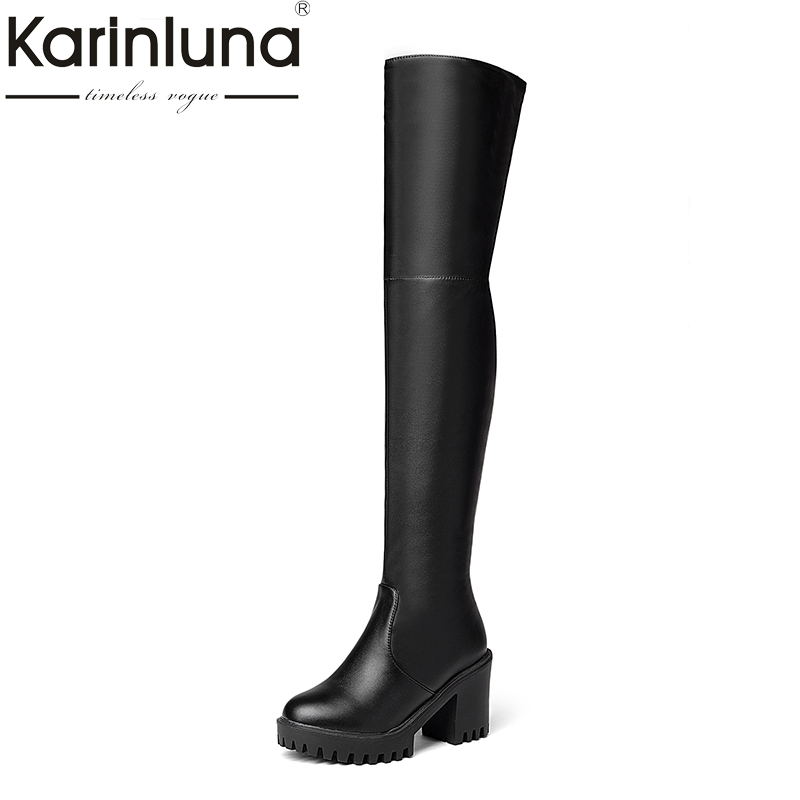 KARINLUNA 2018 hot sale plus size 34-43 platform square high heel women shoes woman long boots over the knee boots black