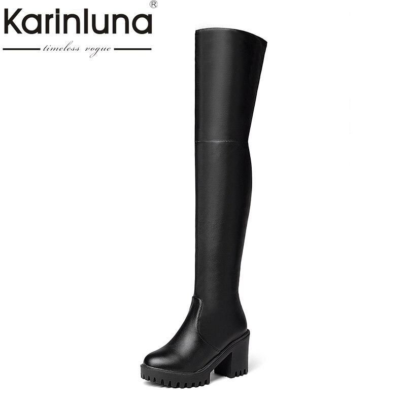 KARINLUNA 2018 hot sale plus size 34-43 platform square high heel women shoes woman long boots over the knee boots black все цены