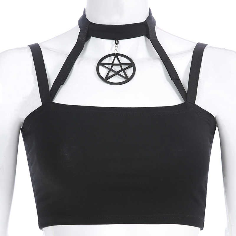 Goth Donkere Zwarte Crop Top Gothic Sexy Vrouwen Star Camis Halter Strand Mouwloze Tanks Dames Zomer Club Streetwear Mode Nieuwe