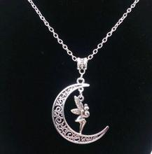 Moon Angel Necklace Vintage Silver Charm Choker Chain Collar Statement Necklace Pendant Jewelry Fashion Women Gift DIY B205