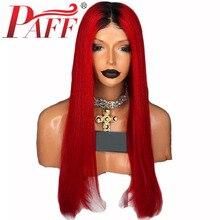 PAFF 1B99J Кружева Передние Парики Человеческих Волос Малайзия Красный Реми Волос Предварительно