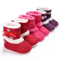 Kids Girls Winter Warm Non-slip Baby Shoes Cute First Walkers Printed Bowknot Cashmere Soft Bottom