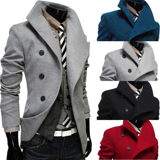 2015 новый однобортный лацкан косой разрез шерстяное пальто для мужчин мужская одежда пальто JacketsTrench