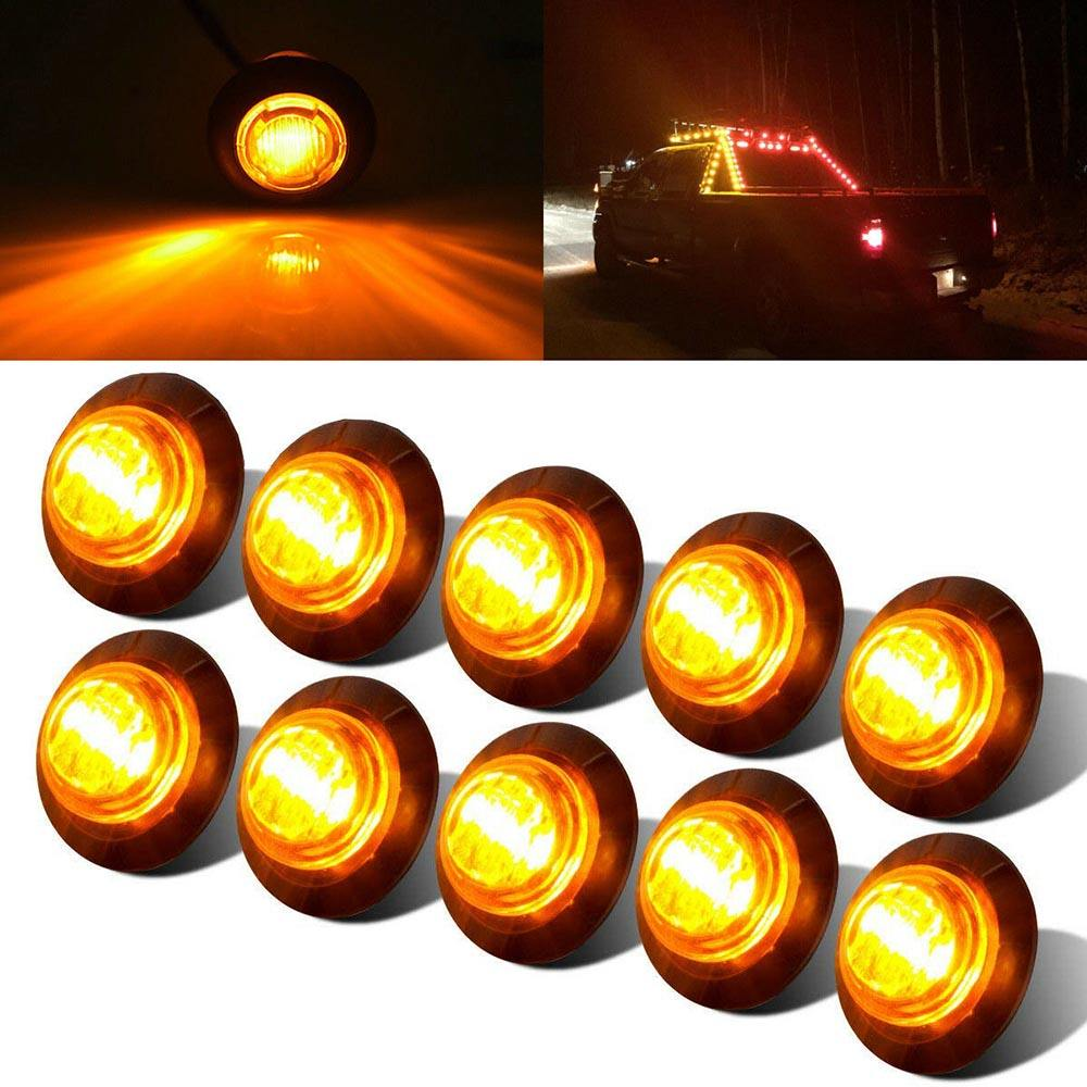 2Pc New Oval Clearance Truck Trailer Van Side Marker LED Light Amber//Yellow