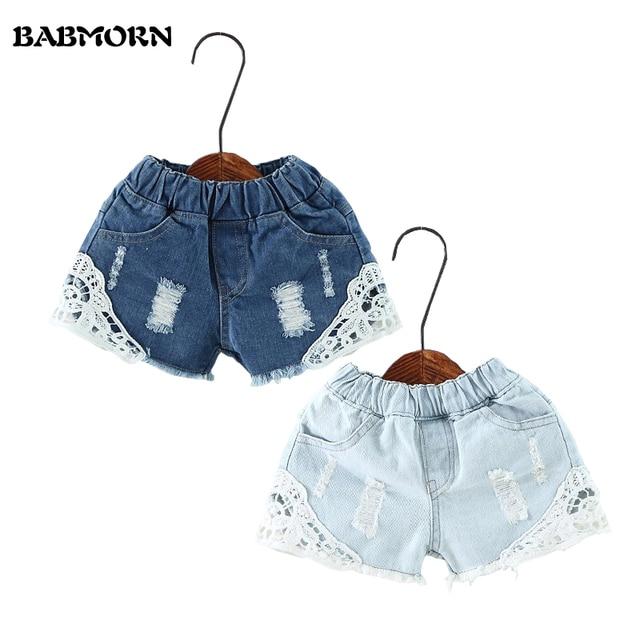 Verano nuevo coreano Niñas Encaje agujero Vaqueros Pantalones cortos ...