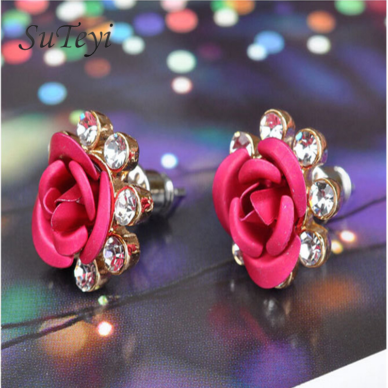 SUTEYI Fashion Brand 7mm Crystal Earrings For Women Couple Jewelry Plated Romantic Double Side Rose Flower Stud Earrings