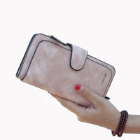 New Brand Leather Women Wallet High Quality Design Hasp Solid Color Card Bags Long Female Purse