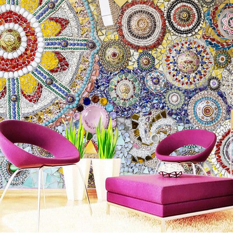 3D Room Wallpaper Benutzerdefinierten Wandbild Vlies Europischen Stil Kunst Mosaik Fliesen Wohnzimmer Fernsehhintergrund Dekoration Wand Schlafzimmer