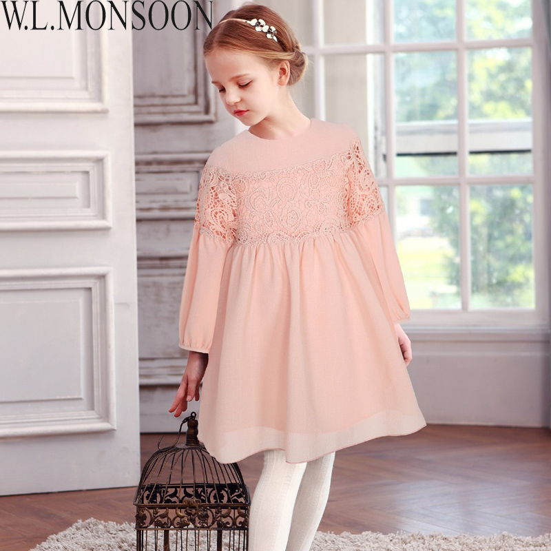 W.L.MONSOON Girls Lace Dress Long Sleeve 2017 Brand Autumn Kids Dresses for Girls Clothing Children Dress Princess Robe Fille kids dresses for girls costumes 2017 brand girls summer dress ice cream print robe fille enfant princess dress children clothing