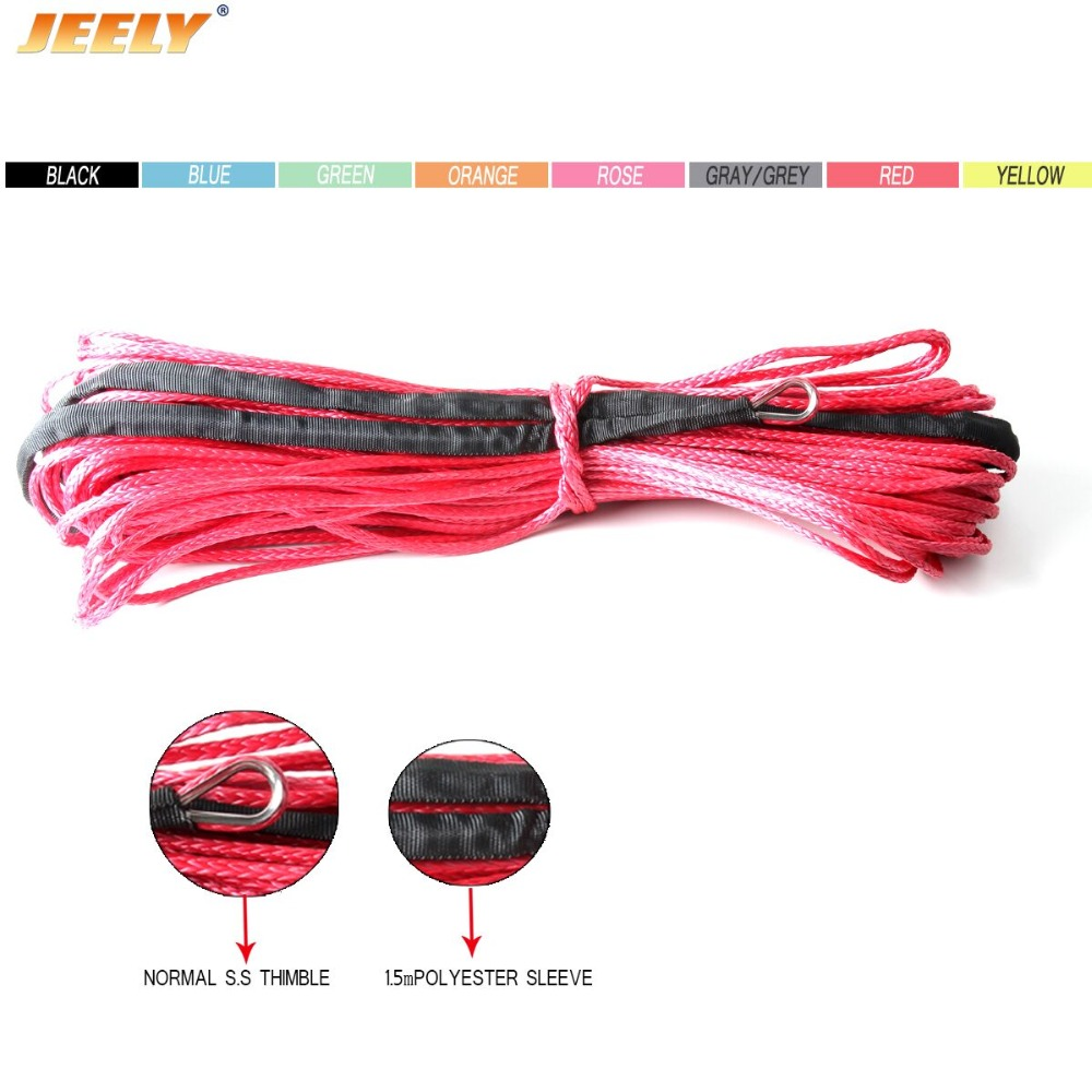 1/4''x50' 7mm*15m 12 Strand Off-road Uhmwpe Synthetic Towing Winch Rope With 1.5m Sleeve And Thimble For ATV/UTV/SUV/4X4/4WD