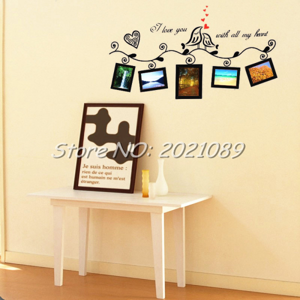 Timelive Love Birds Photo Frame Romantic Hearts Wall Stickers New ...