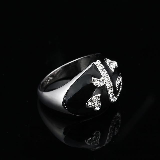 Black Color Party Ring Geometric Shape Accessories With Cubic Zirconia Rings For Women Gift For Anniversary (JewelOra RI101944)