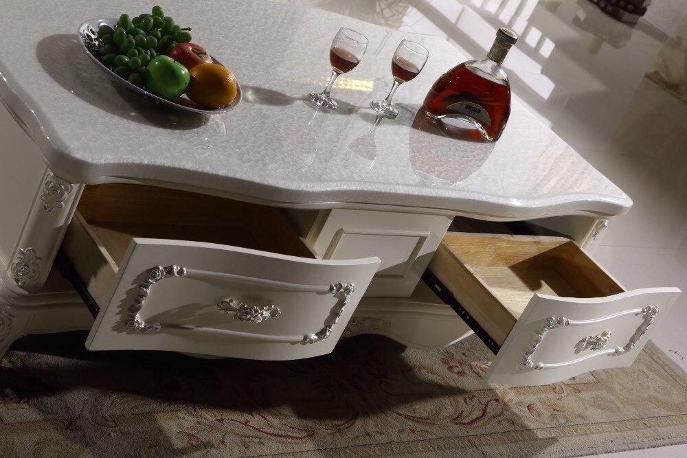 Белый деревянный журнальный столик ящик для хранения мраморной столешницей Сделано в Китае мебель для гостиной