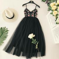 Women Embroidery Flower V Collar Sexy Halter High Waist Thin Pleated Holiday Backless Elegant Dress Vestidos C602
