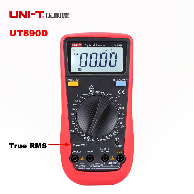 UNI-T UT890D Digital Tester Multimeter True RMS Manual Range AC DC Voltmeter Ammeter Ohm Herz F LCD Backlight Diagnostic-tool цена