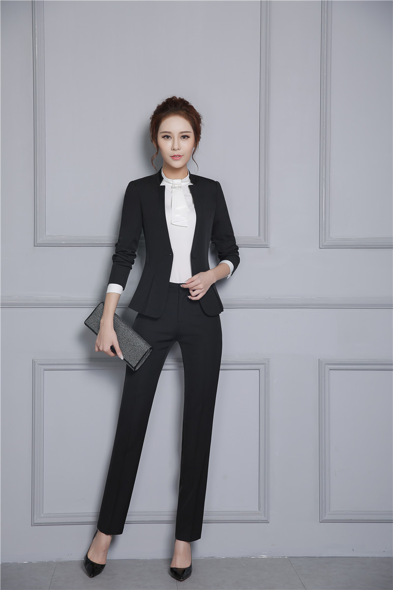 Noir Style Conceptions Avec Ensembles Pantsuits Bureau Blazer Uniforme Nouveau Pantalon Dames Veste D'affaires Formelle gris Et Femmes Costumes Gris T8pqawd
