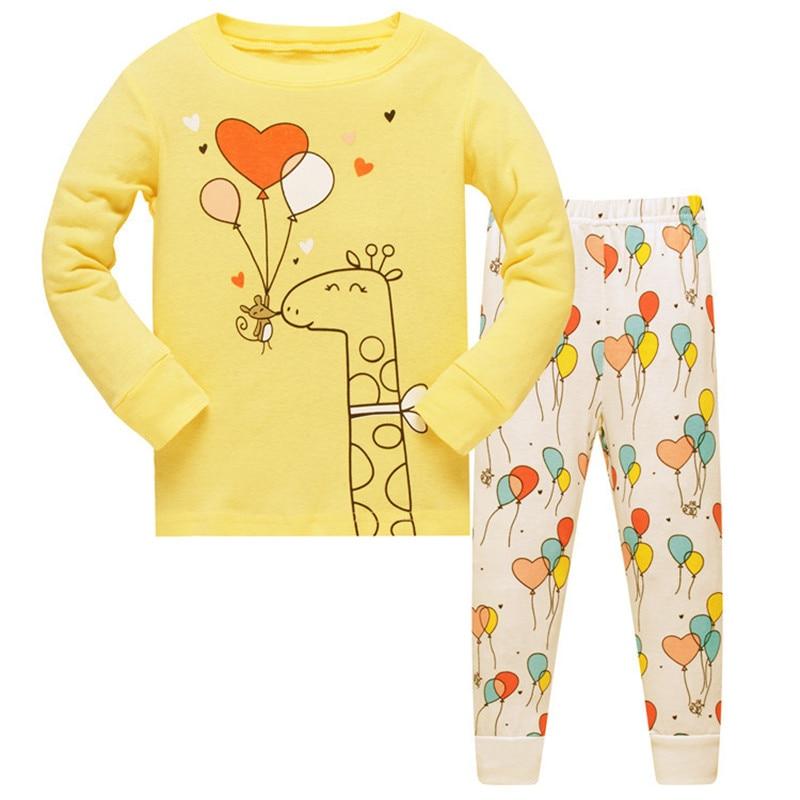 2018 kids   pajamas     sets   Baby Girls 100% cotton Sleepwear pijamas girls cartoon long sleeve T-shirt+Pants size 3-8