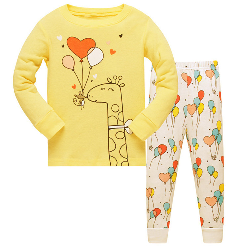 2018 kids pajamas sets Baby Girls 100% cotton Sleepwear pijamas girls cartoon long sleeve T-shirt+Pants size 3-8 2018 spring kids girls sleepwear cotton cartoon print infant pajamas for girls home clothes t shirt pants suit kids clothing set