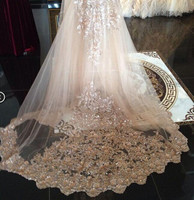 In Stock Bridal Veils Sequins Luxury Cathedral Veil Appliques Lace Edge Custom Made Long Wedding Veils