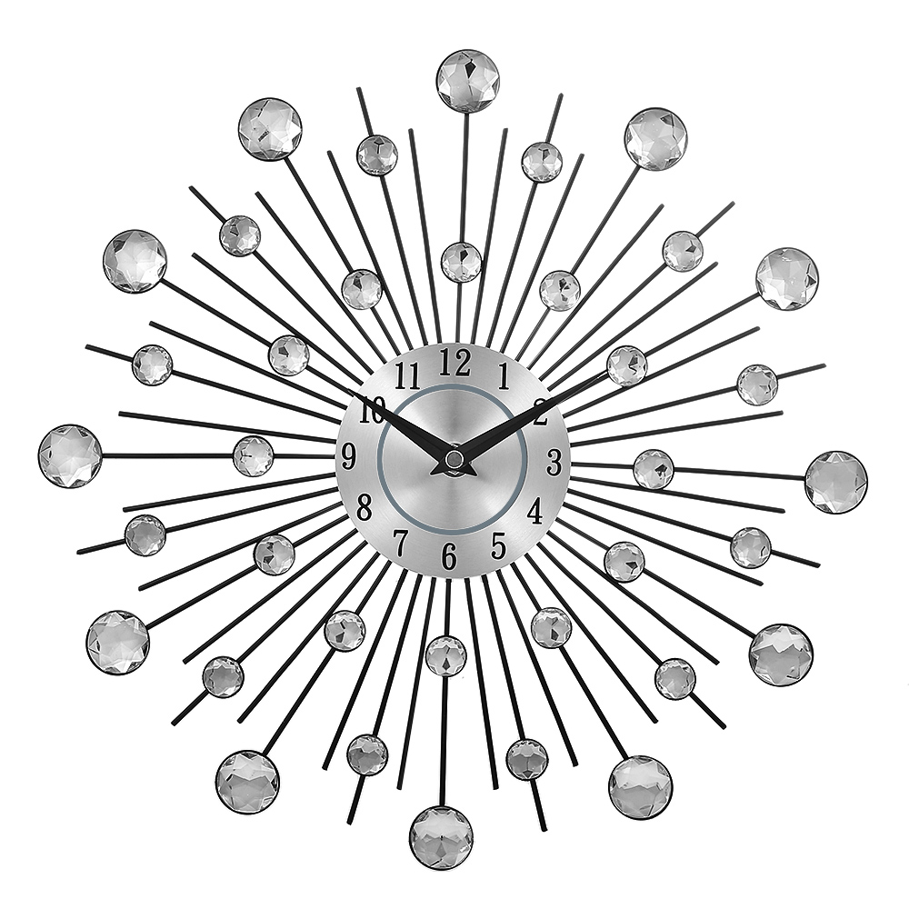 Decorative Crystal Sunburst Metal Wall Clock Home Art Decor Diameter 13 Inch Original Vintage Metal Art Wall Clock Home Decor