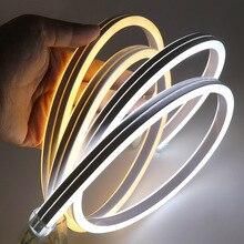 Светодиодная лента XUNATA, неоновый свет 220 В SMD2835 120 светодиодов/м, водонепроницаемая гибкая гирлянда, двусторонний тип освещения с вилкой питания