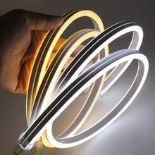 Xunata tira de luz de led neon, 220v smd2835 120leds/m, à prova d'água, flexível, iluminação de fadas, dupla face tipo com tomada de energia