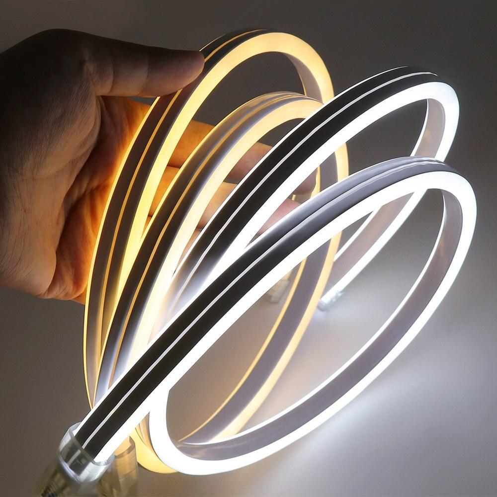 Xunata conduziu a luz de tira luz de néon 220 v smd2835 120 leds/m à prova ddouble água fada flexível iluminação dupla face tipo com plugue de alimentação