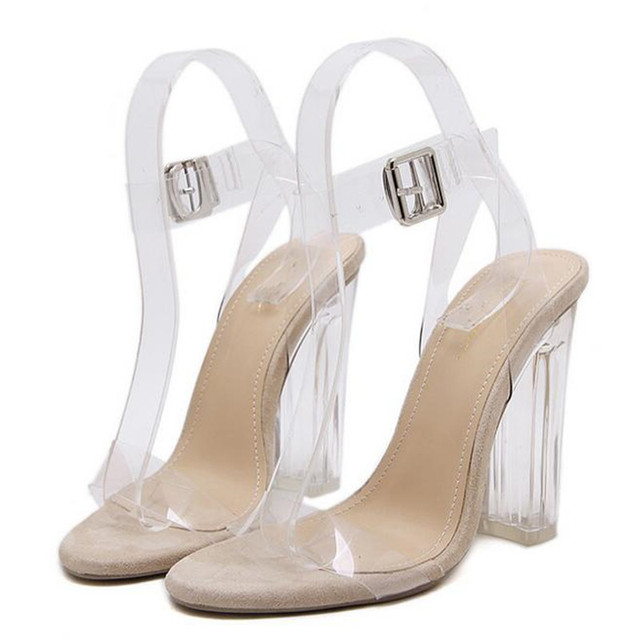 e3b3b13fb881 Women Gladiator Sandals Ladies Pumps Thick High Heels Shoes Woman Crystal  Clear Transparent Ankle Strap Party Wedding Shoes