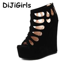Sexy Cut Out Hollow Wedge High Heels Women Platform Pumps Ladies Sexy Fetish Party Prom Wedding