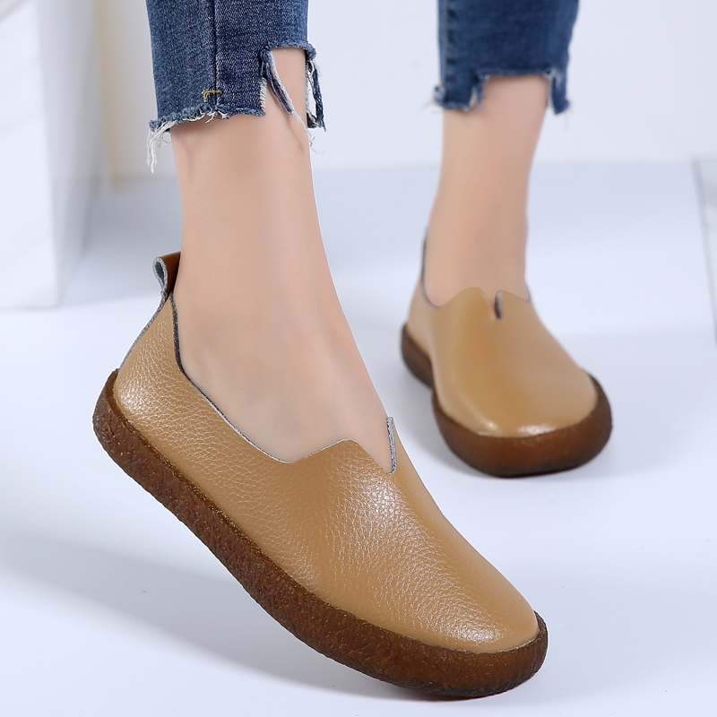 Designer Women Loafers Round Toe Ballet Flats Summer Slip On Genuine Leather Casual Shoes Comfortable Boat Chaussure pinsen spring women genuine leather ballet flats casual shoes round toe slip on flats female loafers ballerina flats boat shoes